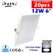 20pcs 6 Inch 12W LED Downlight Slim Panel Square Daylight